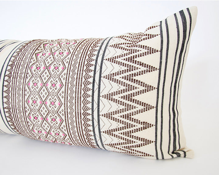 Naga Tribal Extra Long Lumbar Pillow - Cream & Pink - 14x36