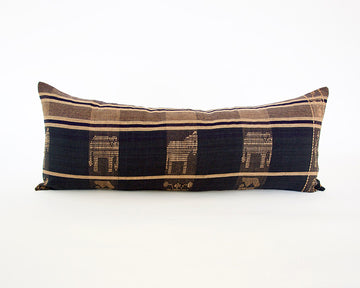 Naga Tribal Extra Long Lumbar Pillow - Navy Blue & Golden Brown - 14x36