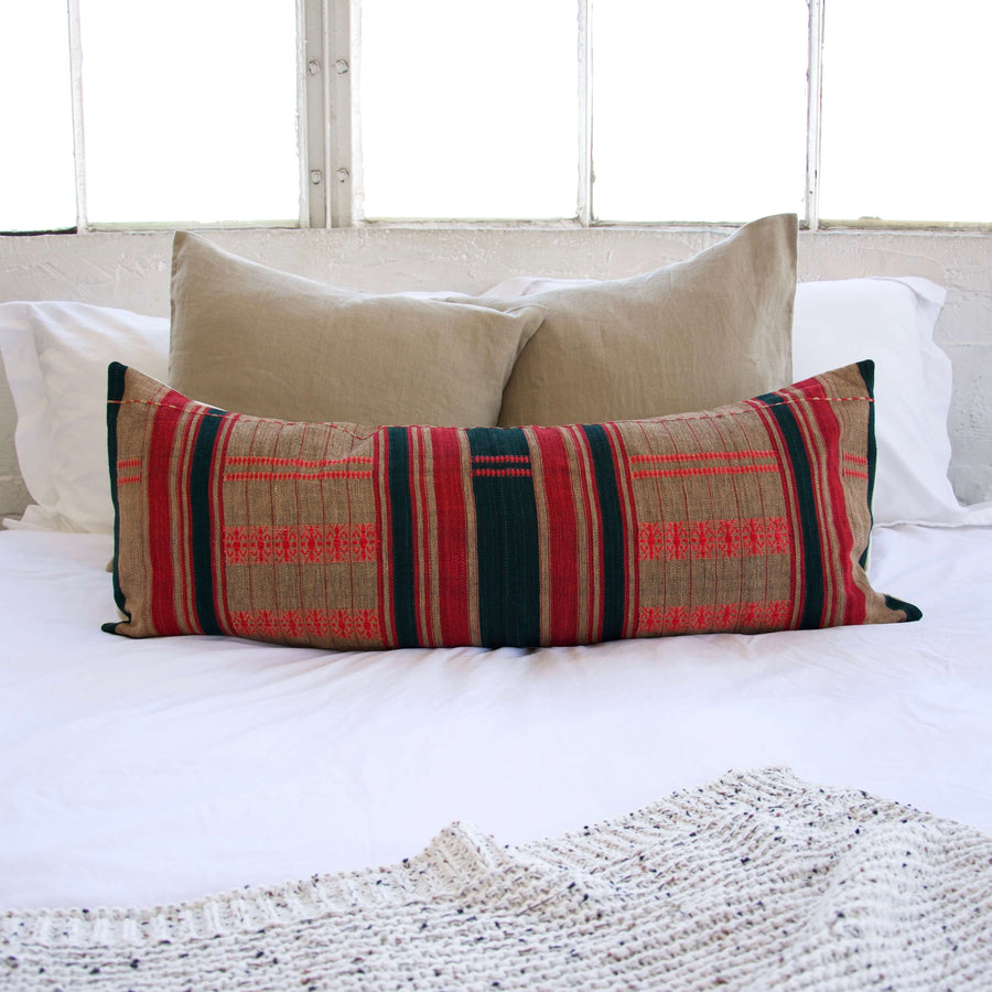 Naga Tribal Long Lumbar Pillow  - Red, Green and Natural - 14x36 #1