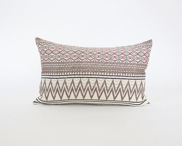 Naga Tribal Lumbar Pillow - Cream & Pink - 14x22