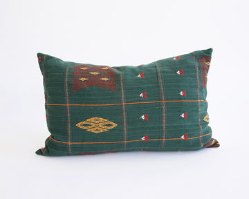 Naga Tribal Lumbar Pillow - Green & Yellow - 14x22
