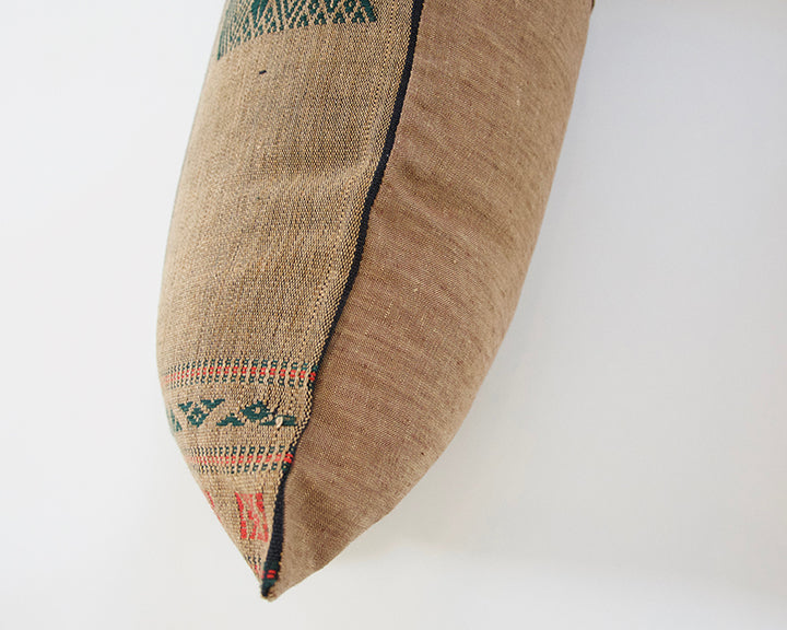 Naga Tribal Extra Long Lumbar Pillow - Brown, Green & Red - 14x50