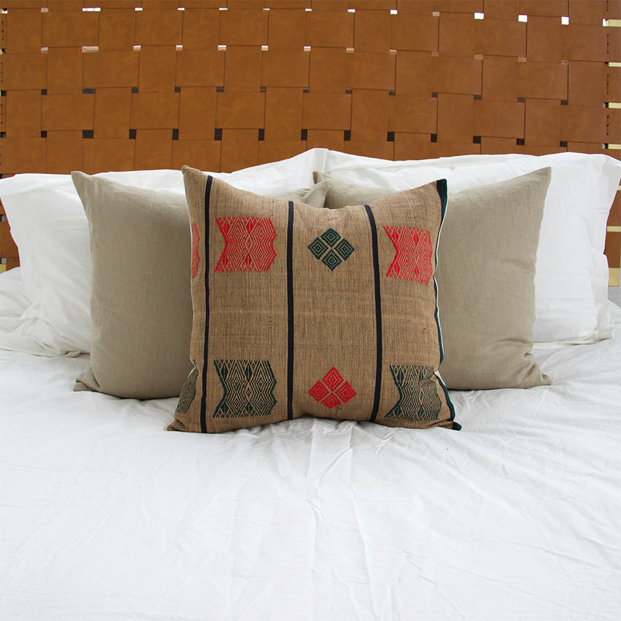 Naga Tribal Pillow - Brown, Green & Red