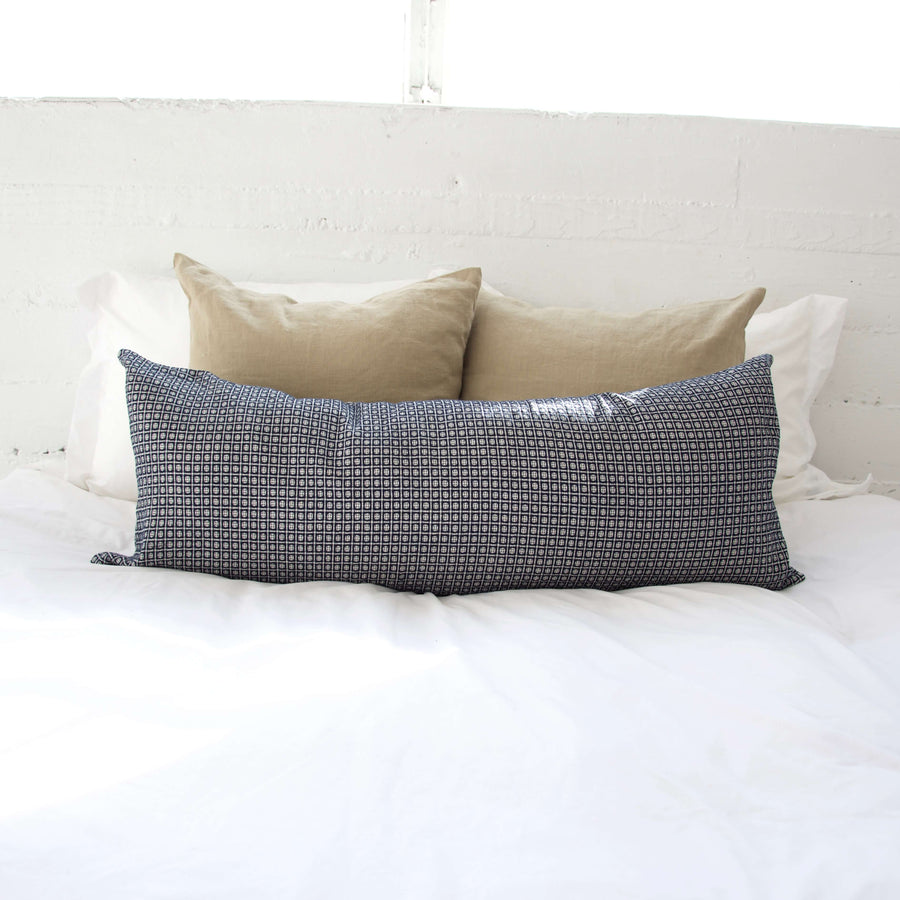 Navy & White Polka Dot Extra Long Lumbar Pillow - 14x36