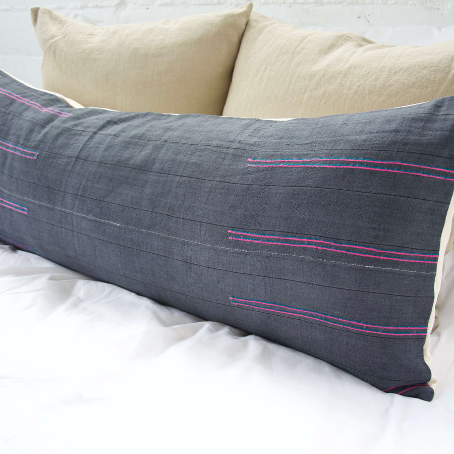 Navy Hmong Extra Long Lumbar Pillow #1 - 14x36