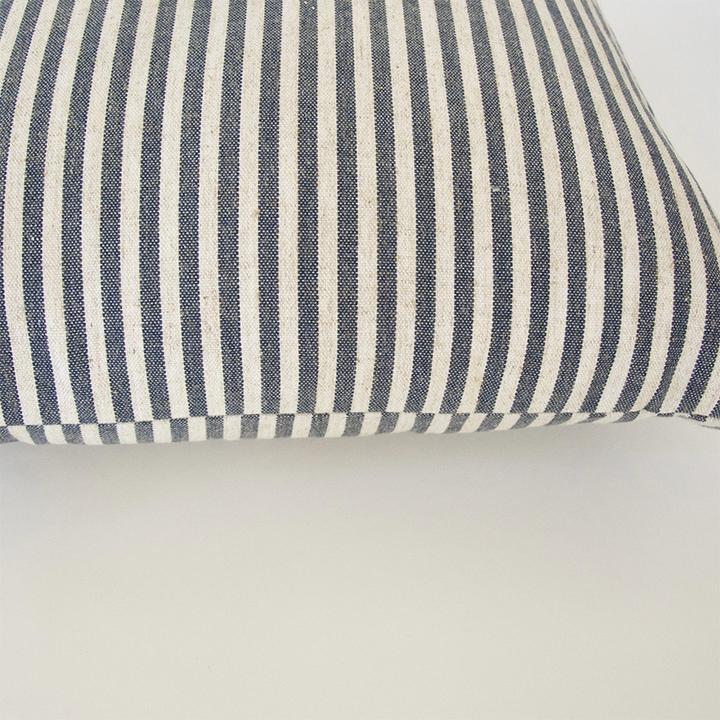 Large Navy & White Striped Accent Pillow -  22x22