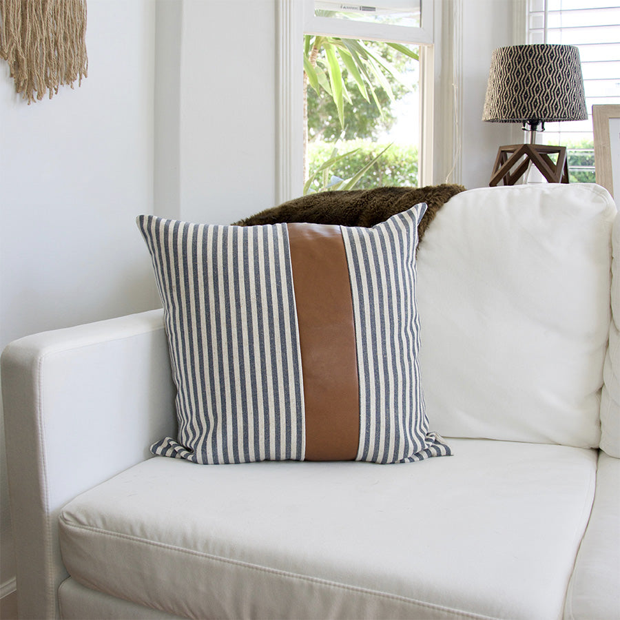 Large Navy & White Striped Accent Pillow with Leather Accent -  22x22