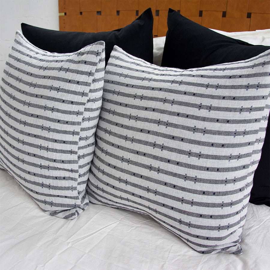 Navy & Grey Striped 'H' Accent Pillow - 22x22