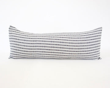 Navy & Grey Striped 'H' Extra Long Lumbar Pillow - 14x36