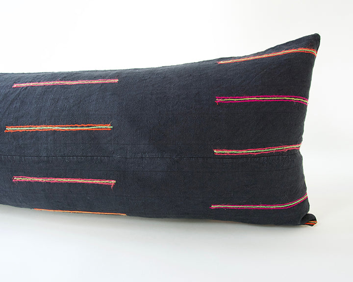 Navy Hmong Extra Long Lumbar Pillow #3 - 14x36
