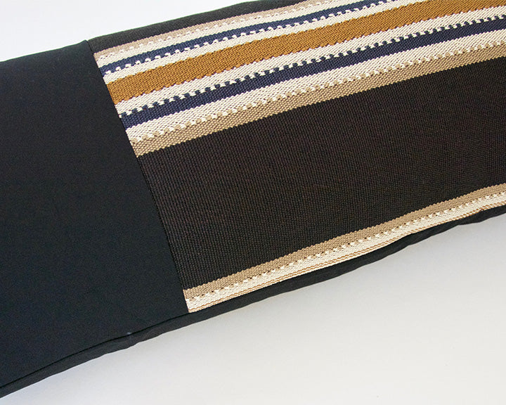 Mix & Match: Black, Navy & Tan Striped / Faux Leather Extra Long Lumbar Pillow - 14x36