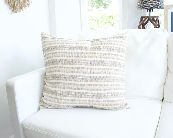 Nude, Cream & Black Striped Accent Pillow - 20x20