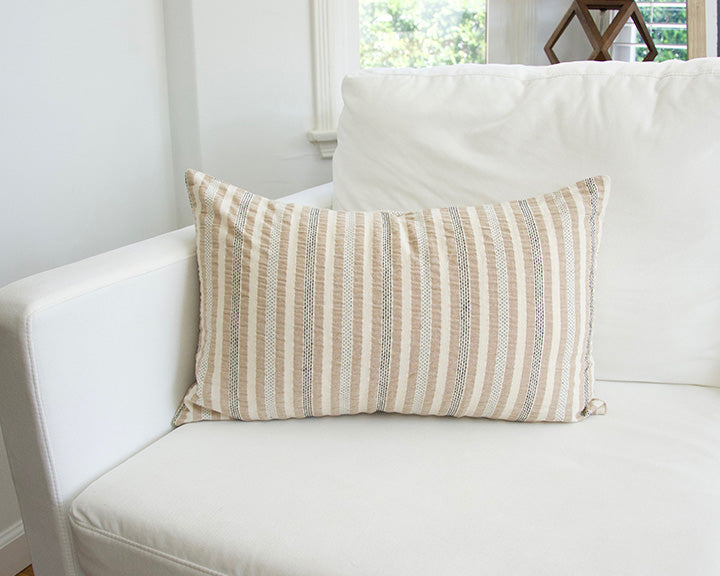 Nude, Cream & Black Striped Lumbar Pillow - 14x22