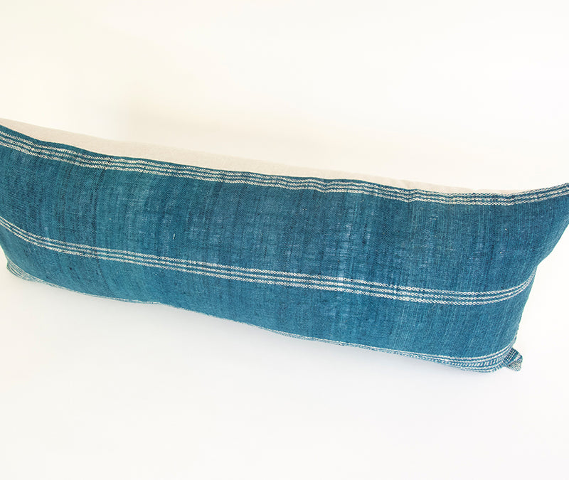 Ocean Blue Bhujodi Extra Long Lumbar Pillow - 14x36