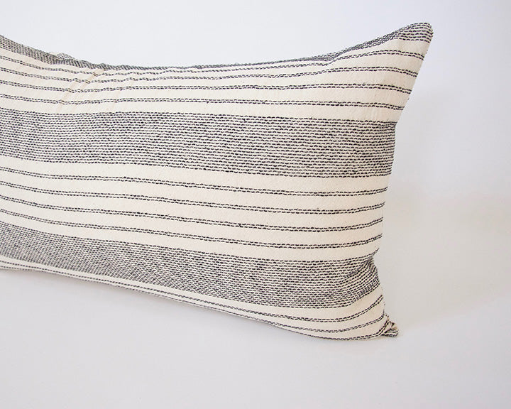 Off-White Stripe Accent Lumbar Pillow - 14x22