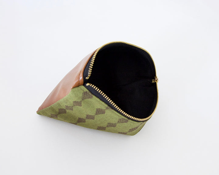 Olive Green & Leather Accessory Bag - #1
