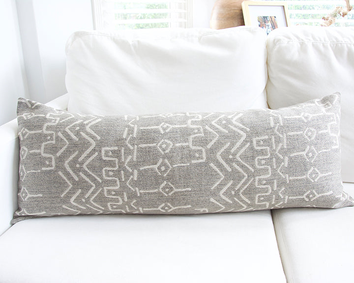 Pale Gray Extra Long Lumbar Pillow - 14x36