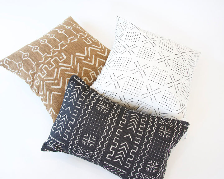 Printed Mudcloth - Black + White Accent Pillow - 20x20