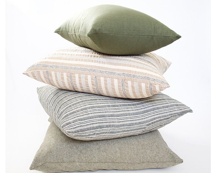 Olive Green, Army Green, Classic Grey, and Tan & Nude Stripes - 4 Piece Pillow Set