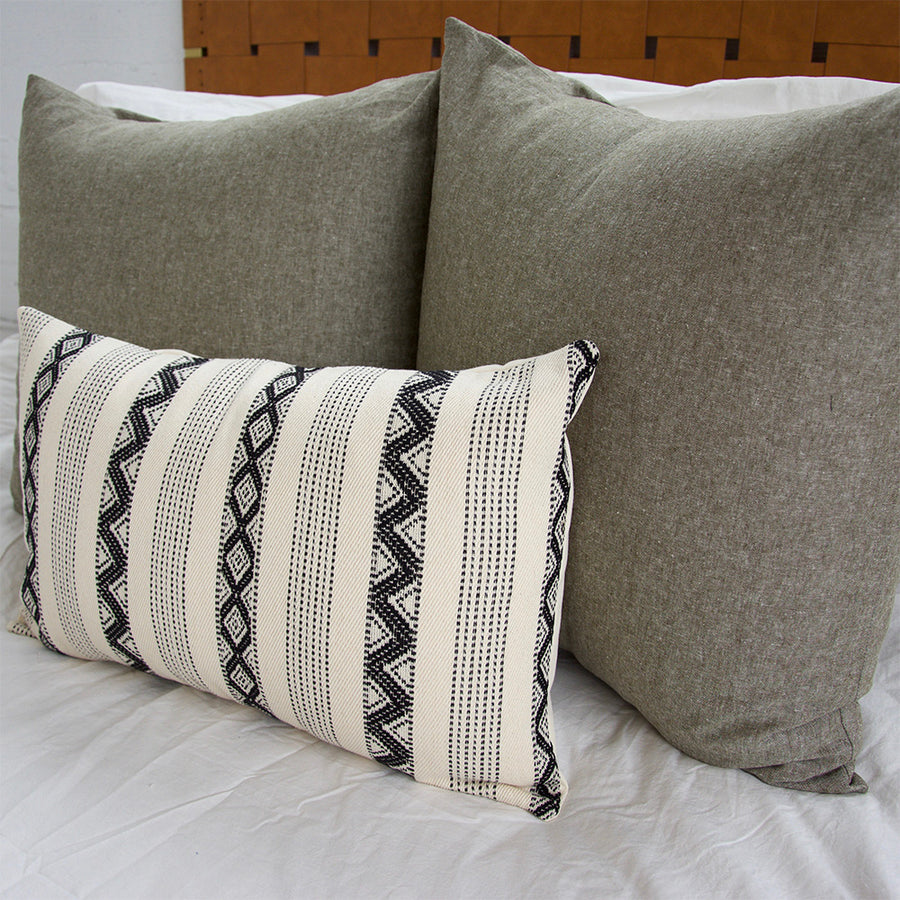 Olive Green & Black & Cream Zig Zag Pattern 3 Piece Pillow Set