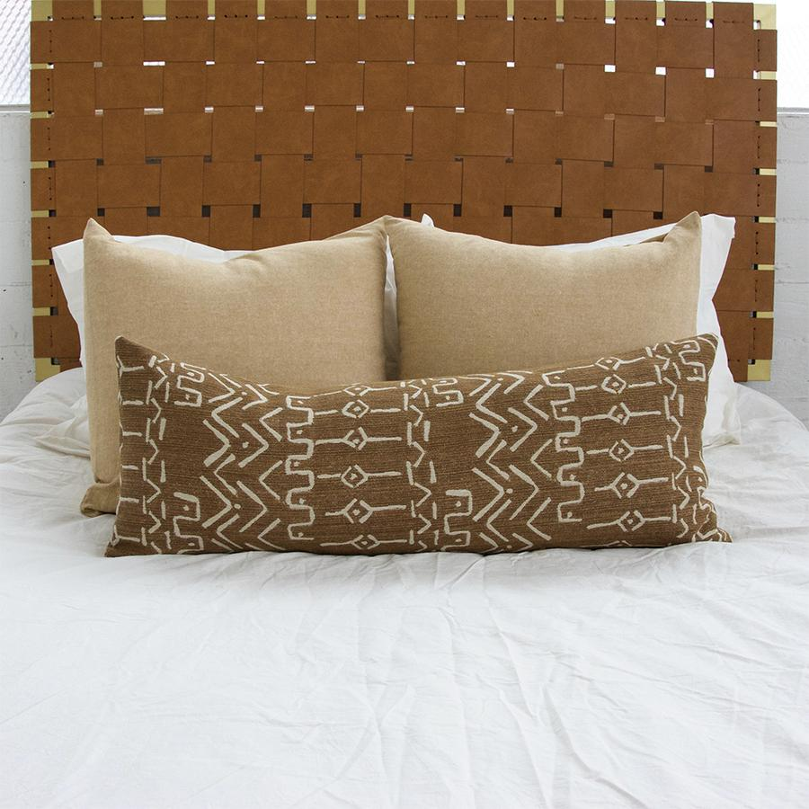 Cognac Mud Cloth Pattern Extra Long Lumbar Pillow - 14x36