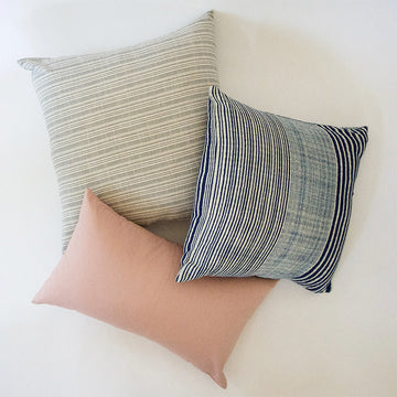 Classic Light Grey, Pink, and Indigo & White - 3 Piece Pillow Set