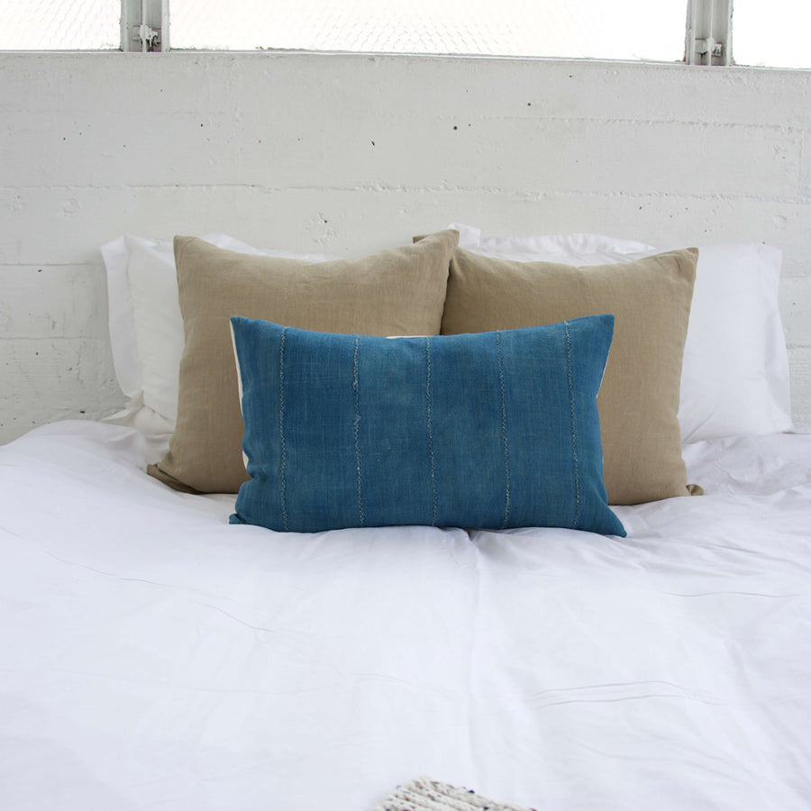 Solid Blue African Mud Cloth Lumbar Pillow - 14x22