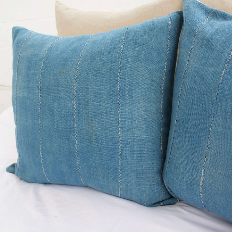 Solid Blue African Mud Cloth Pillow - 22x22