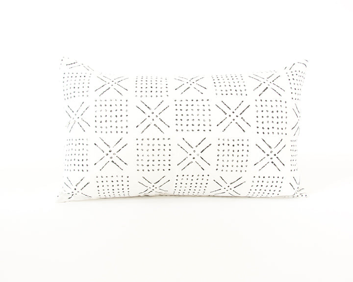 Printed Mud cloth - Black + White Lumbar Pillow - 14x22