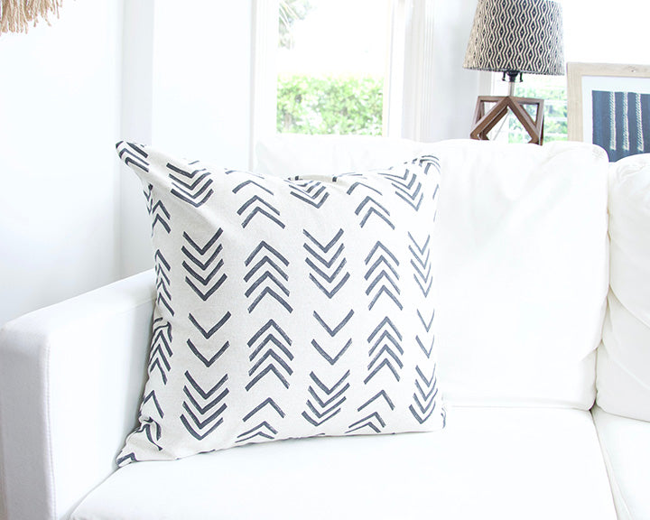 Printed Chevron - Black + Off White Accent Pillow - 22x22