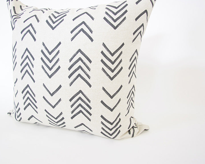 Printed Chevron - Black + Off White Accent Pillow - 20x20