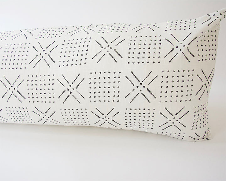 Printed Mud cloth - Black + White Extra Long Lumbar Pillow - 14x50