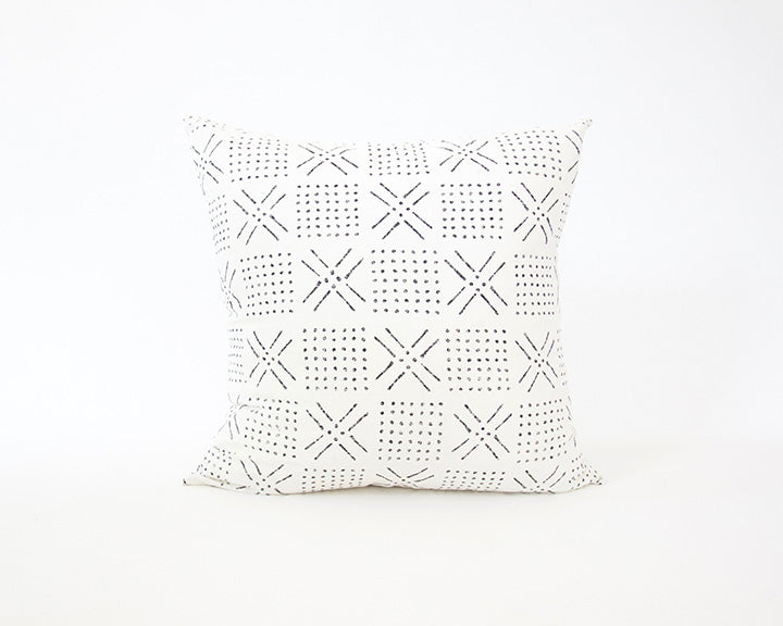 Printed Mudcloth - Black + White Accent Pillow - 22x22