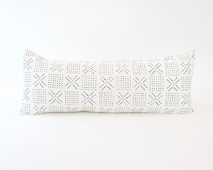 Printed Mud cloth - Black + White Extra Long Lumbar Pillow - 14x36