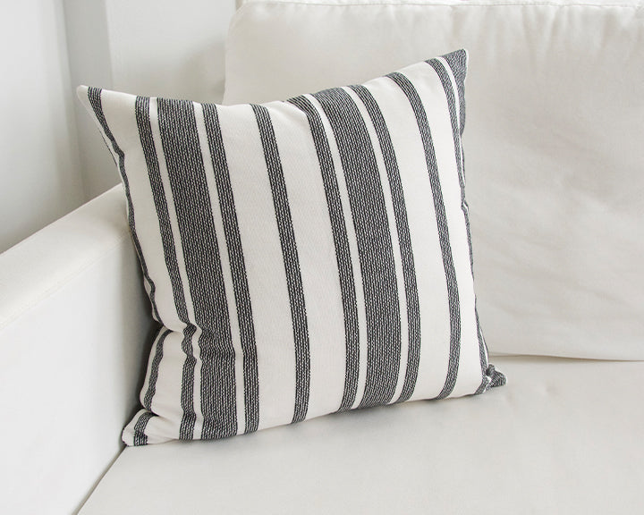 Pure White & Black Striped Accent Pillow - 20x20