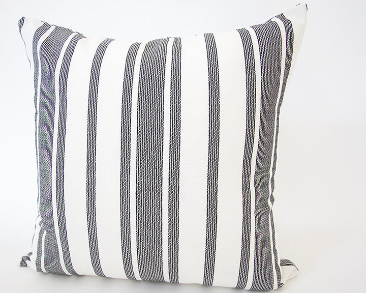 Pure White & Black Striped Accent Pillow - 22x22