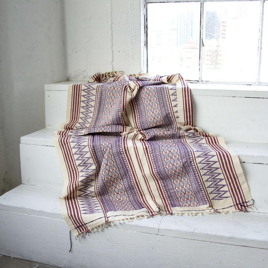 Purple And Cream Naga Tribal Throw