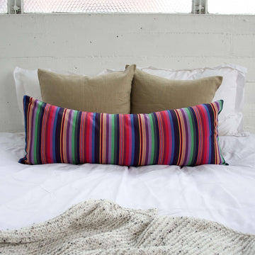 Colorful Rainbow Striped Extra Long Lumbar Pillow - 14x36