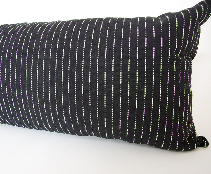 Running Stitch Black Extra Long Lumbar Pillow - 14x50