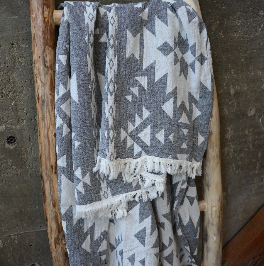 Turkish Towel / Throw - Dark Grey