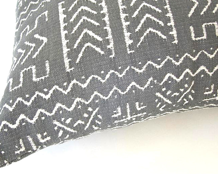 Tribal Slate Grey + Cream Accent Pillow - 22x22
