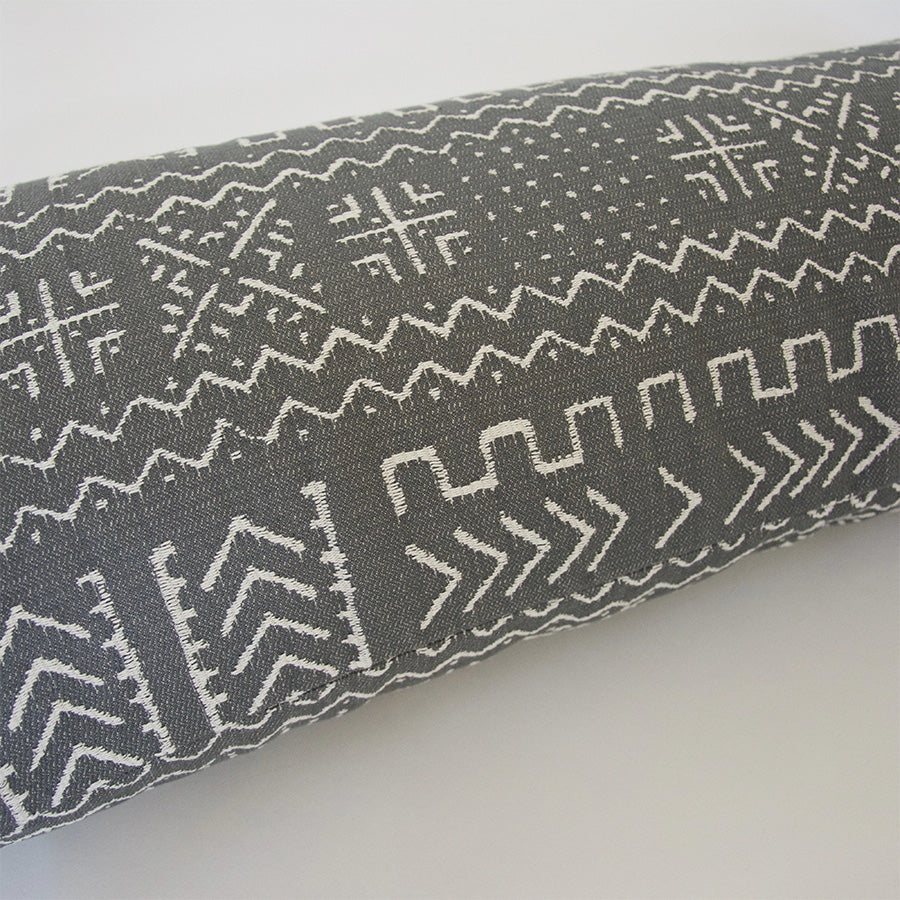 Tribal Slate Grey Extra Long Lumbar Pillow - 14x36