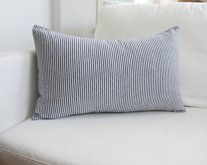 Small Blue Striped Lumbar Pillow - 14x22