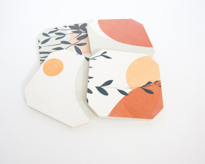 Soft Shapes & Leaves Coaster Set