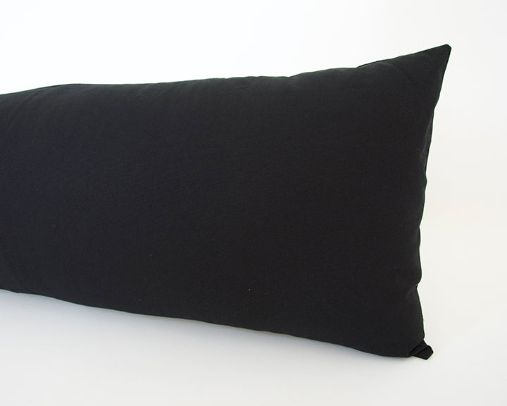 Solid Black Cotton Extra Long Lumbar Pillow - 14x36