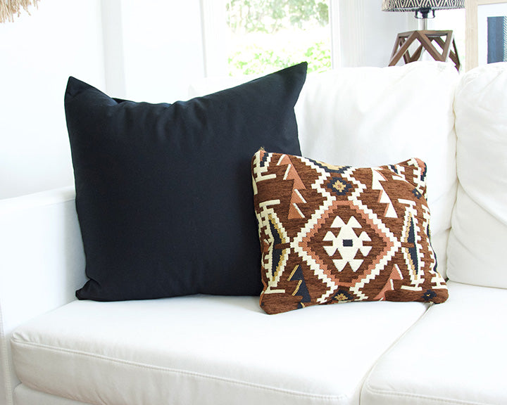 Solid Black Cotton Accent Pillow - 22x22