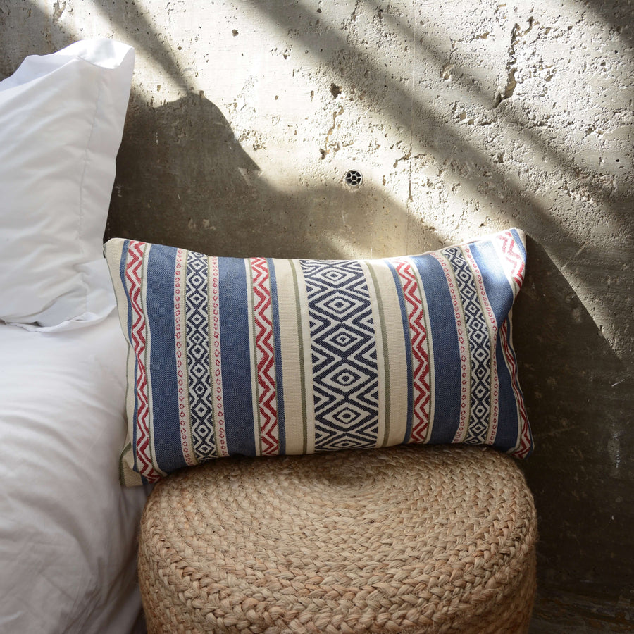 Southwest Navy & Red Stripe Lumbar Pillow - 14x22