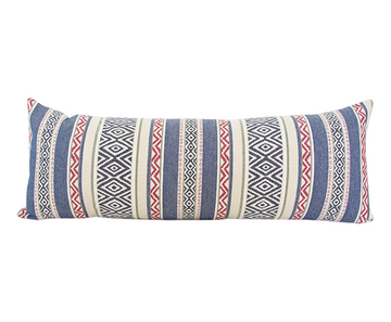 Southwest Navy & Red Stripe Long Lumbar Pillow - 14x36