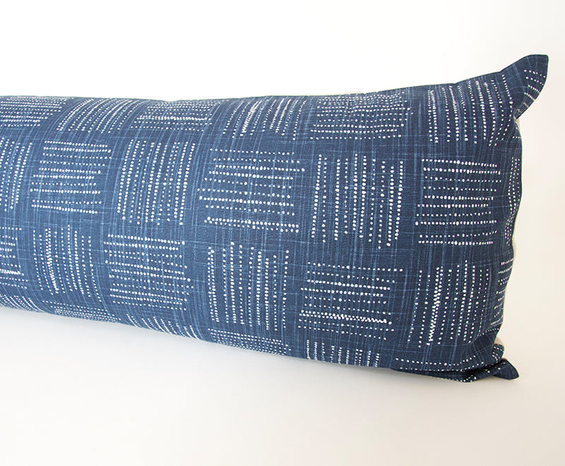 Spotted Italian Denim Extra Long Lumbar Pillow - 14x50