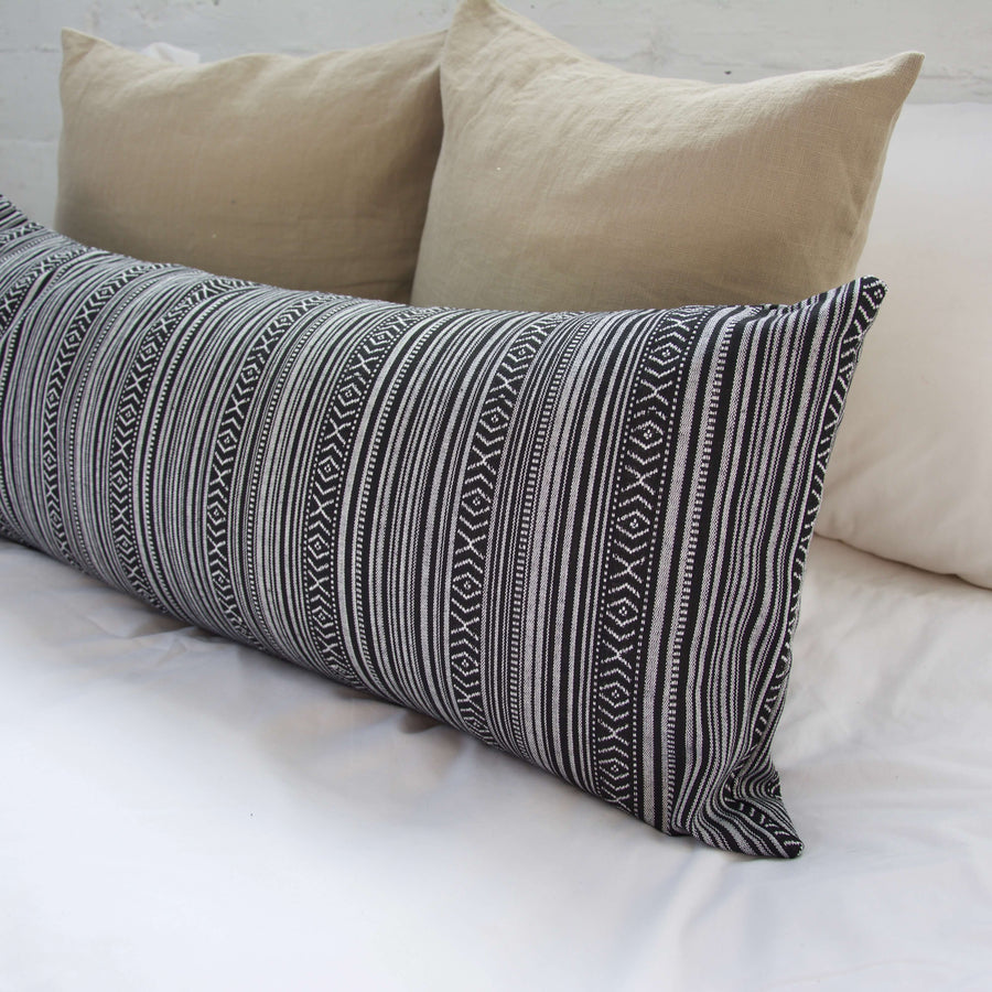 Striped Aztec Extra Long Lumbar Pillow - Black - 14x36
